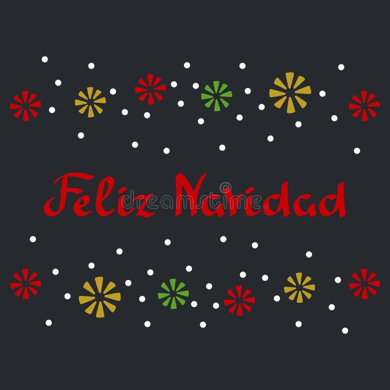 Frase de la Feliz Navidad en español Copos de nieve del confeti Ejemplos del vector para las tarjetas de felicitación, carteles libre illustration