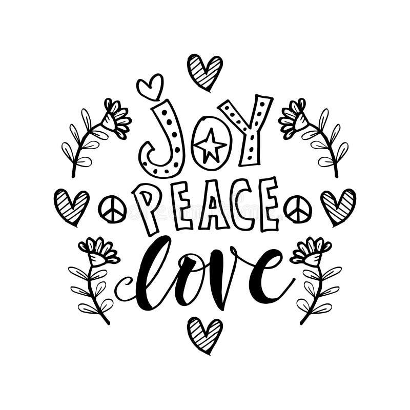 Frase de las letras de la mano de Joy Peace Love libre illustration
