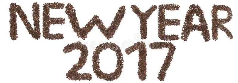 Frase del Año Nuevo 2017 hecha de nueces de cedro imagen de archivo libre de regalías