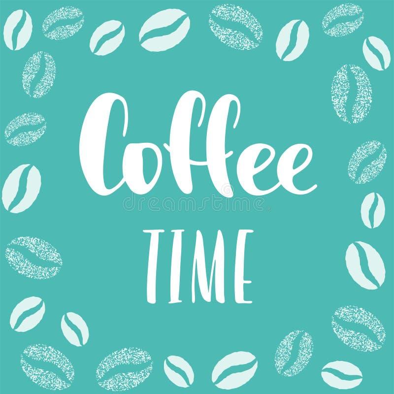 Frase del tiempo del café con la decoración de los granos de café alrededor, muestra blanca para la rotura y pausa, diseño del te fotos de archivo libres de regalías