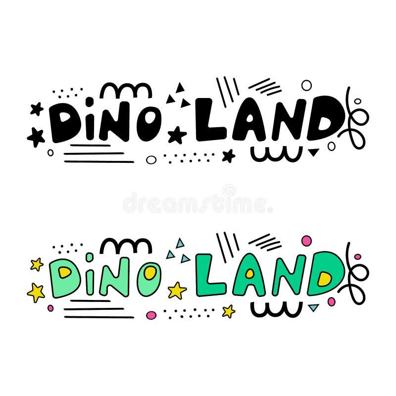 Frase dell'iscrizione della terra di Dino illustrazione di stock