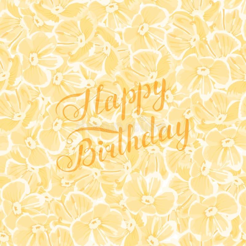 Frase di buon compleanno dell'oro sul fondo giallo dei fiori Testo scritto a mano r Elemento di disegno per la cartolina d'auguri royalty illustrazione gratis