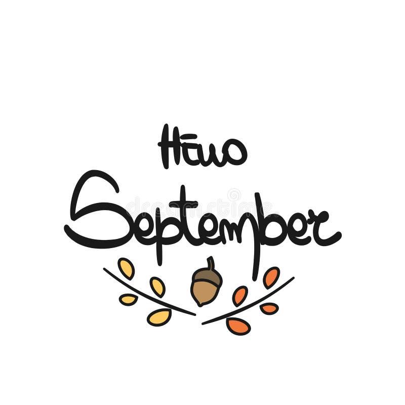 Frase dibujada mano linda hola septiembre de las letras de la tipografía del vector libre illustration