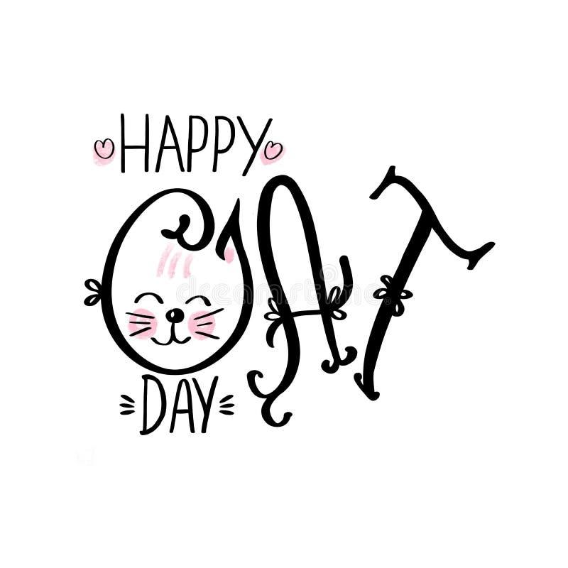 Frase disegnata a mano che segna Cat Day con lettere felice su fondo bianco illustrazione di stock