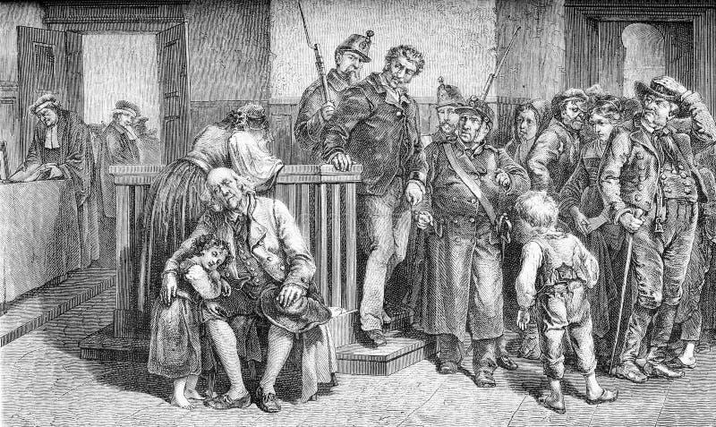 A frase diz a cópia culpada, velha ilustração stock