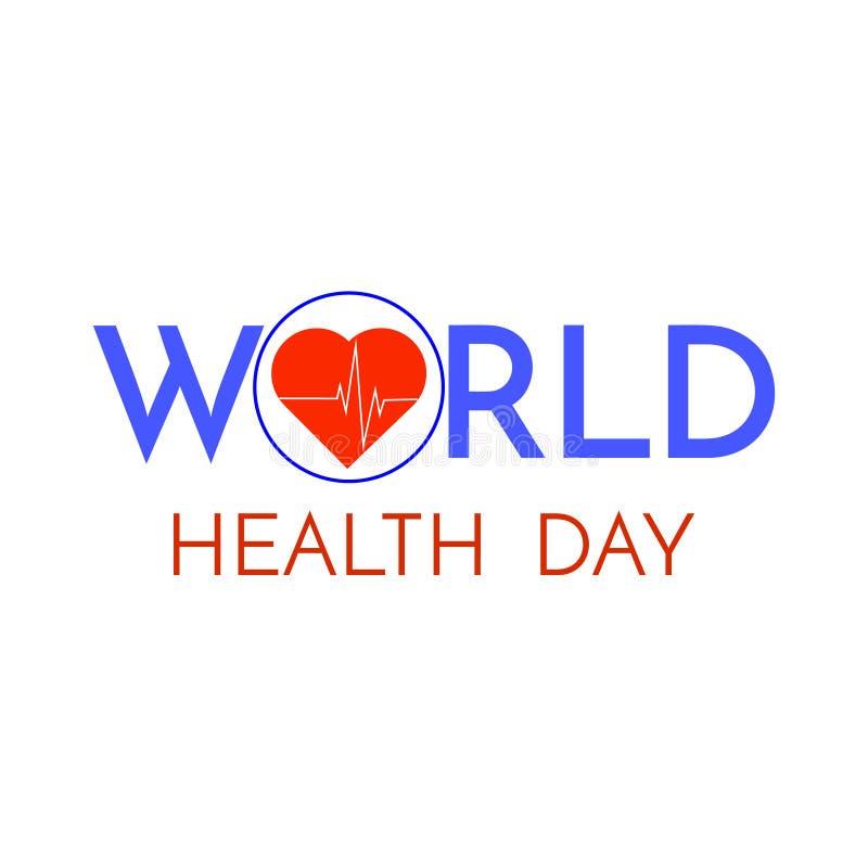 Frase do dia de saúde de mundo isolada no fundo branco ilustração royalty free