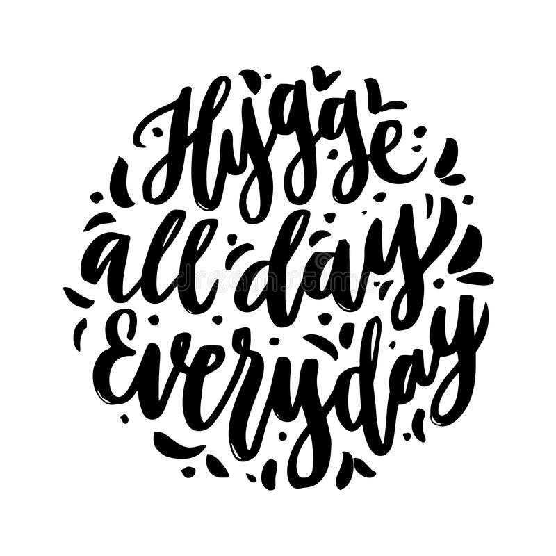 Frase escandinava: Hygge o dia inteiro diário; significa um acolhedor, cosiness, morno ilustração do vetor