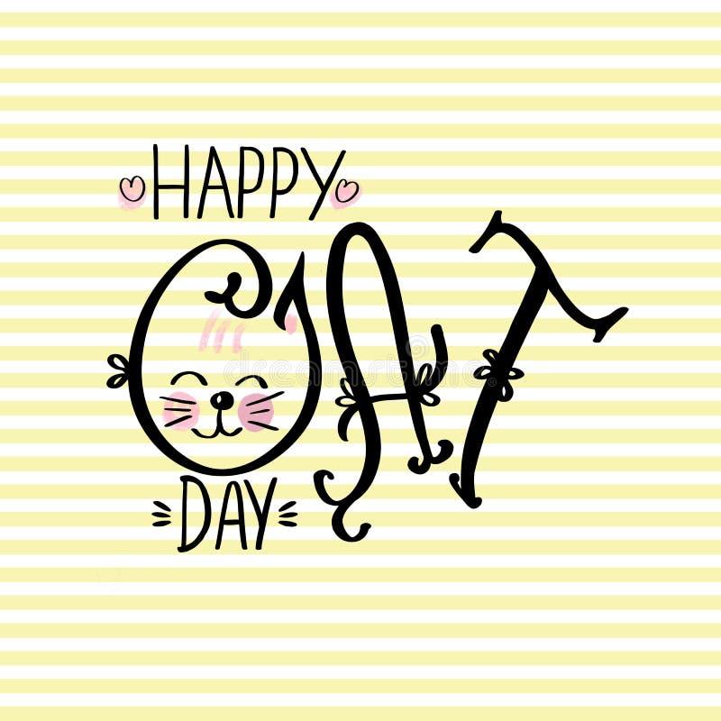 Frase exhausta de la mano que pone letras a Cat Day feliz en fondo rayado amarillo ilustración del vector
