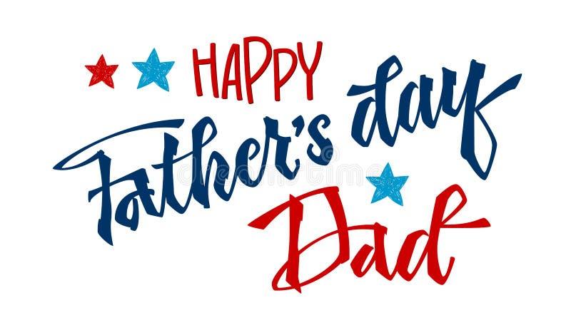 Frase feliz del d?a del ` s del padre Cita del día de padre Mano exhausta del montante de la escritura de la mano que pone letras ilustración del vector