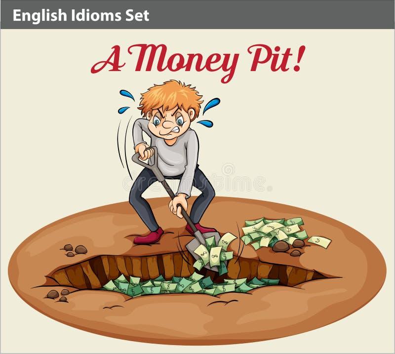 Frase hecha inglesa que muestra la riqueza en el hoyo stock de ilustración