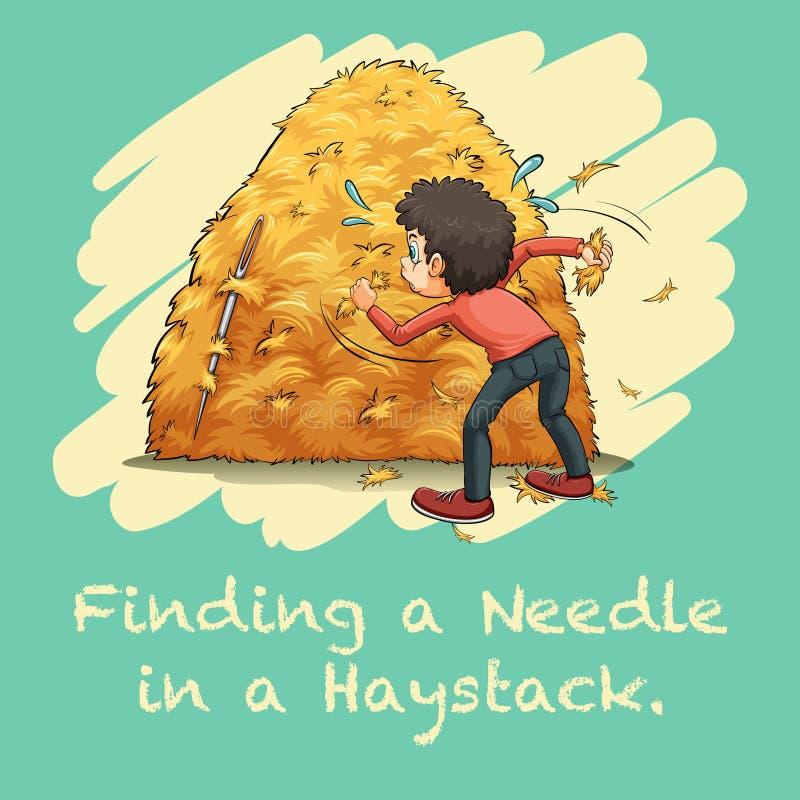 Frase hecha que encuentra una aguja en un pajar libre illustration