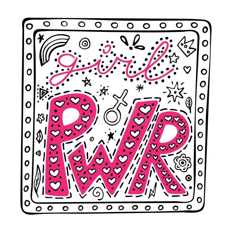 Frase no quadro, citações inspiradas da mão-rotulação do PWR da menina, ilustração do gráfico colorido no estilo da garatuja, slo ilustração do vetor