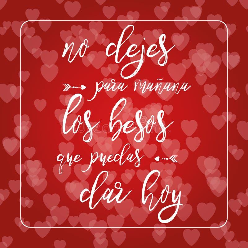 Frase sobre o amor no fundo vermelho do bokeh dos corações Cartão romântico Elemento da rotulação Texto no espanhol ilustração royalty free