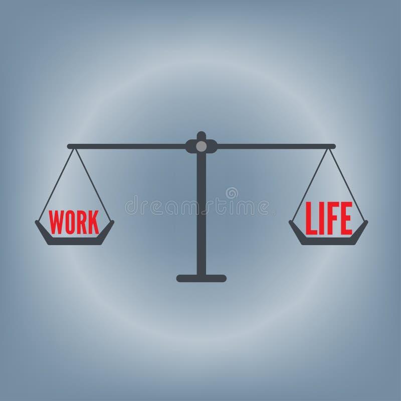 Fraseio do equilíbrio da vida do trabalho no conceito da escala do peso, ilustração do vetor no fundo liso do projeto fotografia de stock