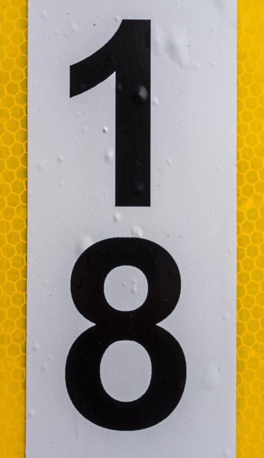 Fraseología escrita en el estado apenado número encontrado tipografía 18 dieciocho foto de archivo libre de regalías