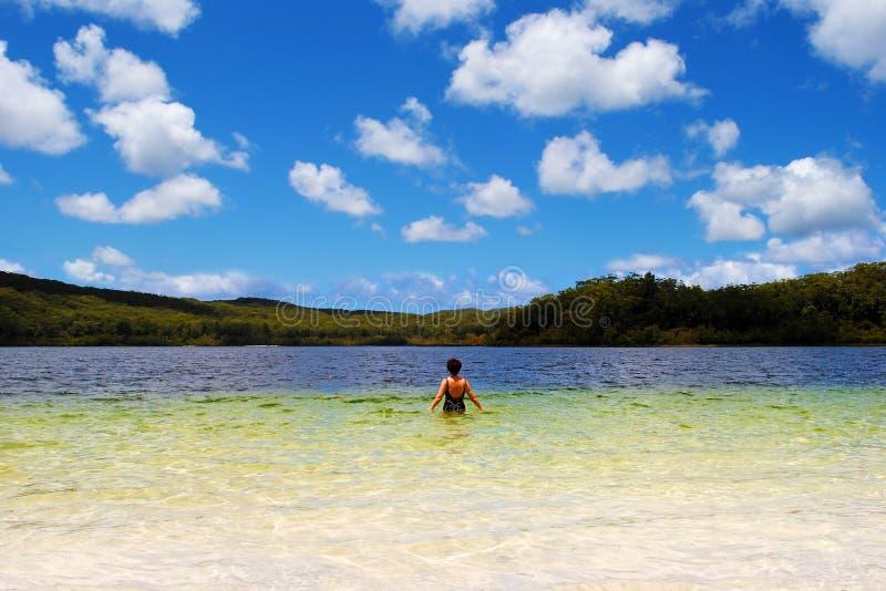 Fraser Island. Beautiful Lake McKenzie on Fraser Island, Queensland, Australia royalty free stock photography