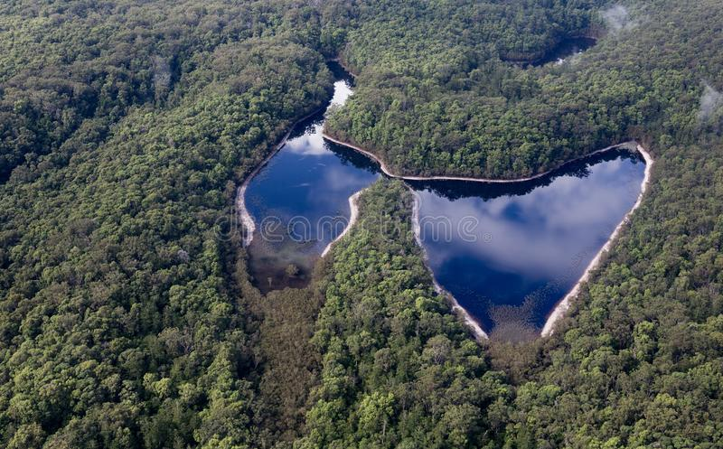 Fraser Island Australia nature scene. Fraser Island is a very popular holiday destination. It is World Heritage listed. Butterfly Lake stock photography