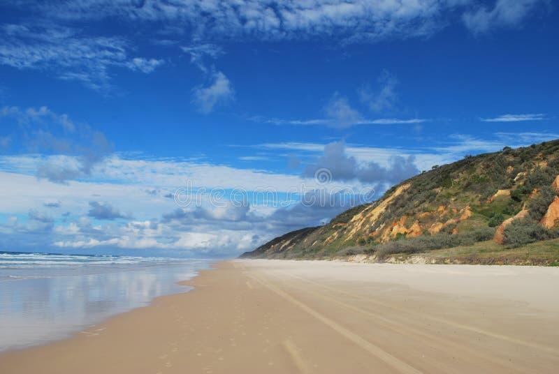 Fraser Island coloured sands beach. Coastline and coloured sands cliffs at Fraser Island, Australia stock image