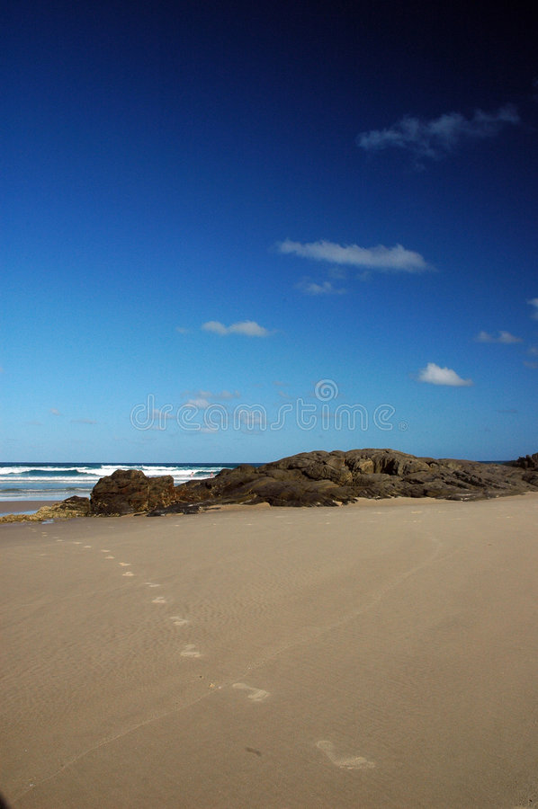 Fraser Island foot prints. Foot prints on the fraser island beach, queensland australia stock photography