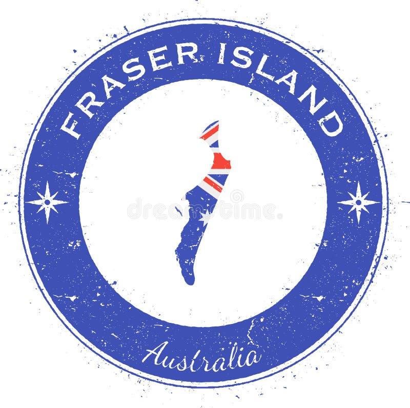 Fraser Island runt patriotiskt emblem royaltyfri illustrationer