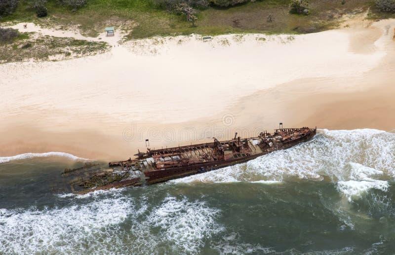 Fraser Island-schipwrak, luchtmening stock afbeeldingen