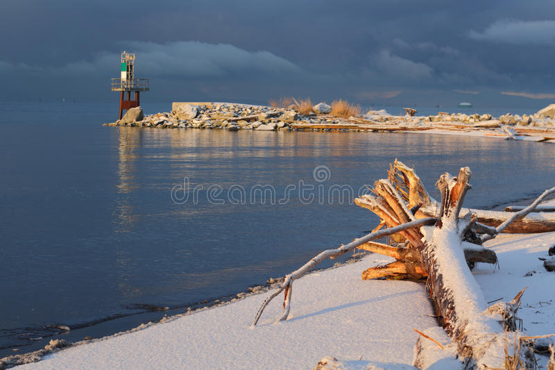 Fraser River Driftwood Snow. Snowfall coats the beach and driftwood on the shore of the Fraser River. Storm clouds darken the sky. British Columbia, Canada royalty free stock images