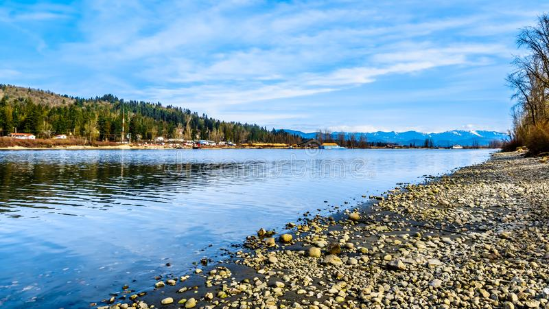 The Fraser River on the shore of Glen Valley Regional Park near Fort Langley, British Columbia, Canada. On a nice winter day stock images