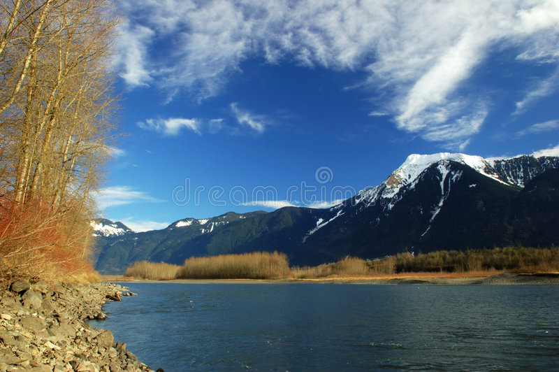 Fraser river winter scene. Fraser river in a sunny winter day stock photos