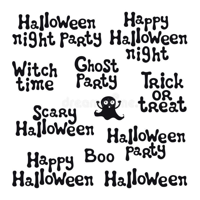Frases De Halloween Letras Handdrawn Elemento Del Diseño