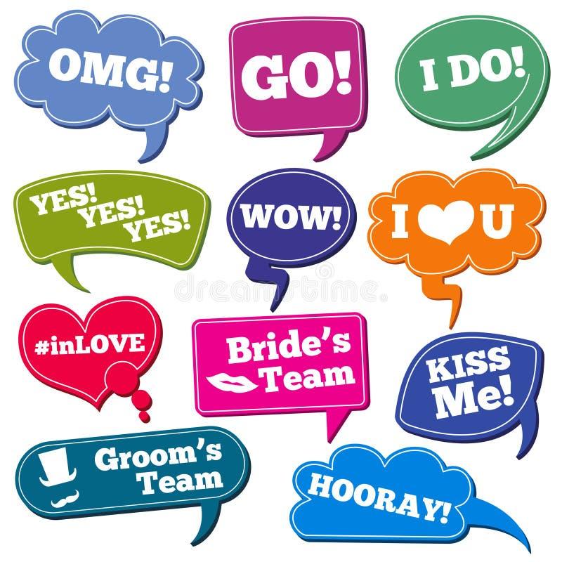 Frases dos casamentos nos suportes da foto do vetor das bolhas do discurso ajustados ilustração stock