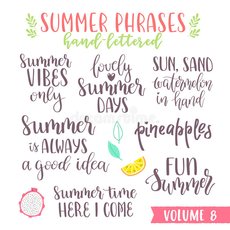 Frases escritas mano de las letras del verano ilustración del vector