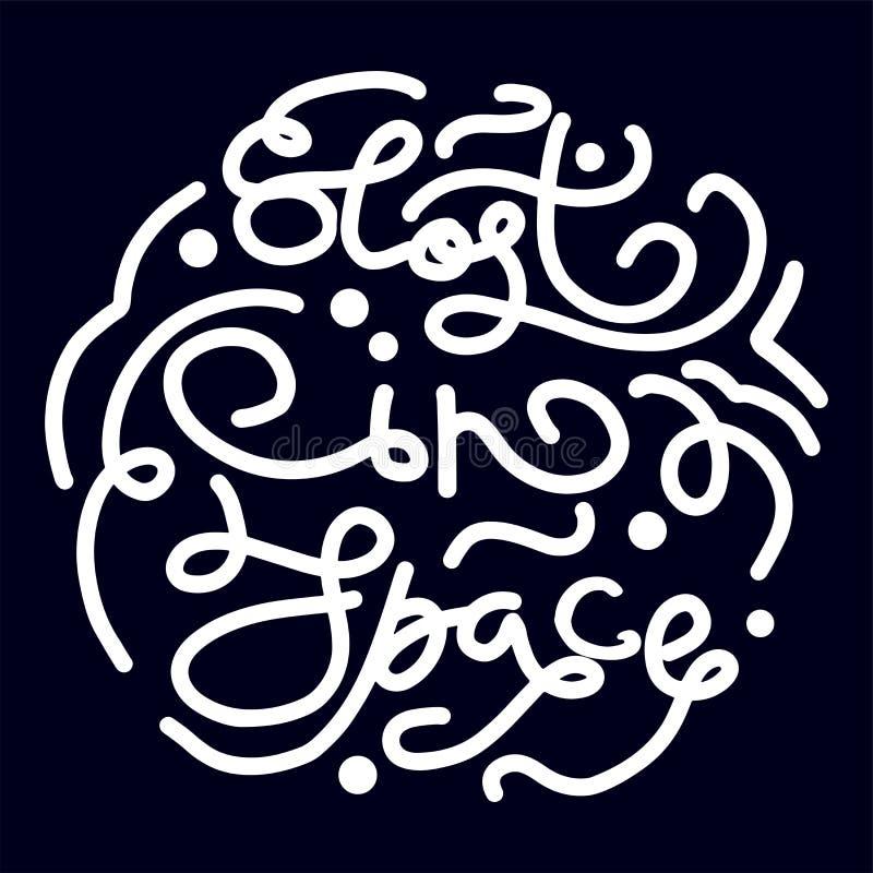 Frases exhaustas de la mano del elemento del diseño perdidas en el espacio para el cartel, tarjeta de felicitación, bandera Ilust libre illustration