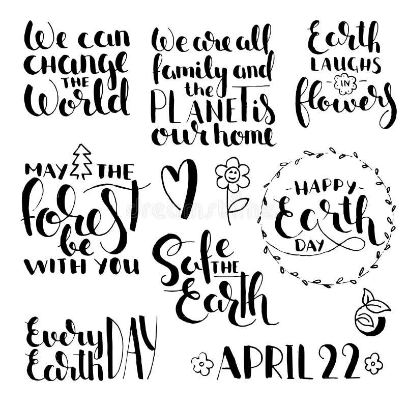Frases sobre Día de la Tierra Sistema manuscrito de las letras ilustración del vector
