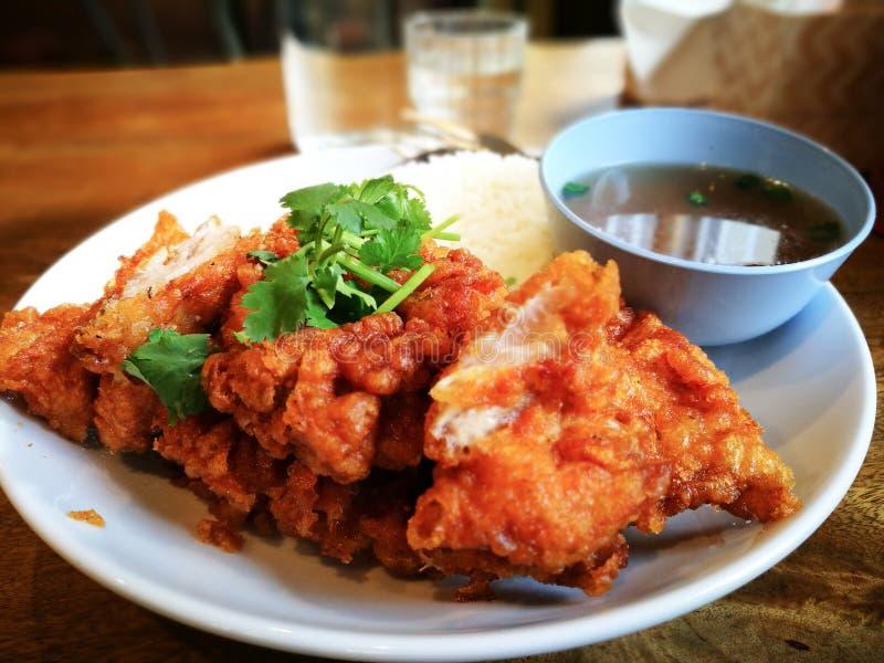 Frasig stekt kyckling med ris i thailändsk mat utformar royaltyfri bild