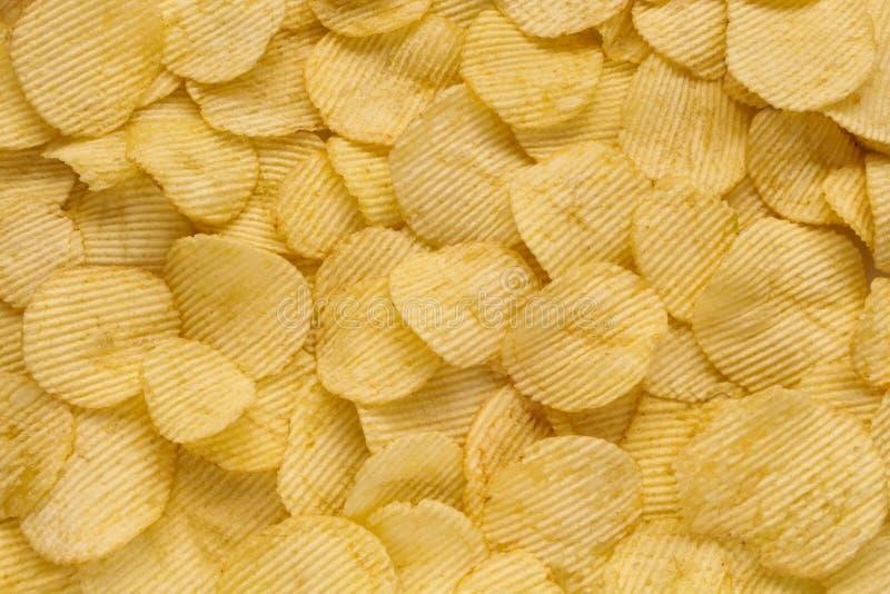 Frasiga ribbade potatischiper arkivbilder