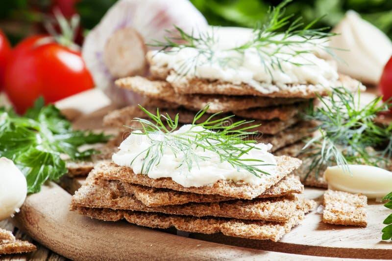 Frasigt bröd med mjuk ost och örter, selektiv fokus arkivbild