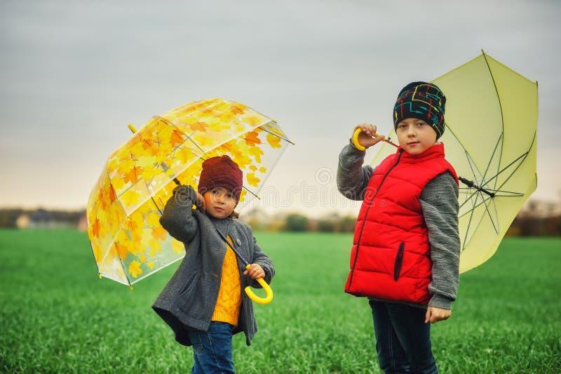 Fratello allegro e sorella su una passeggiata di autunno fotografie stock libere da diritti