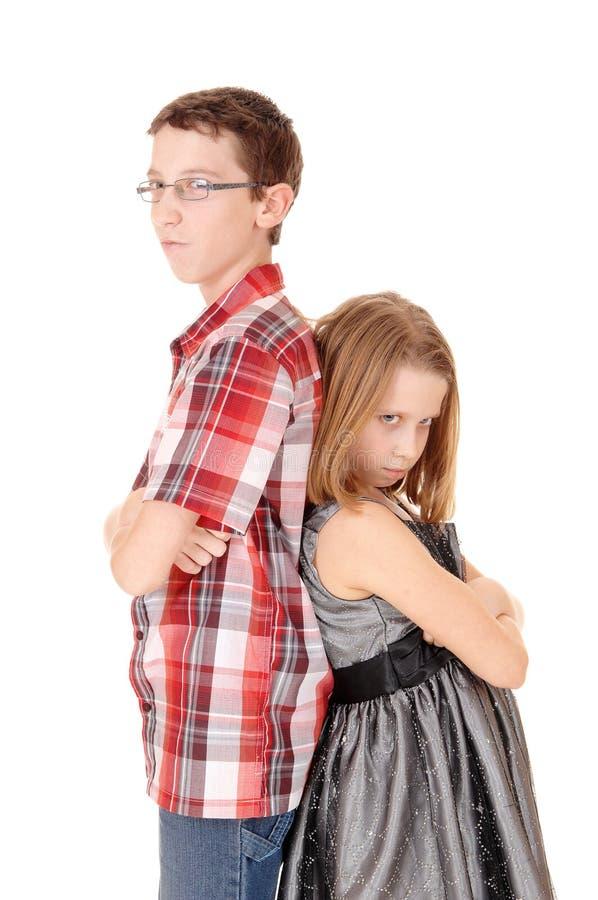 Fratello e sorella pazzi fotografia stock