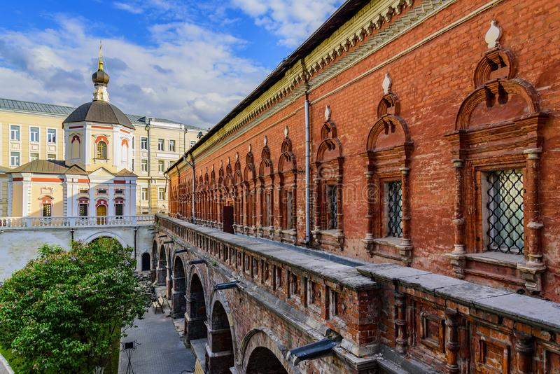 Fraternal cells and the Pakhomiya church in the High-Petrovsky monastery. Moscow, Russia royalty free stock image