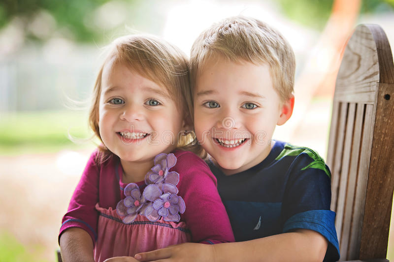 Fraternal Twins. 3 year old fraternal twins royalty free stock photos