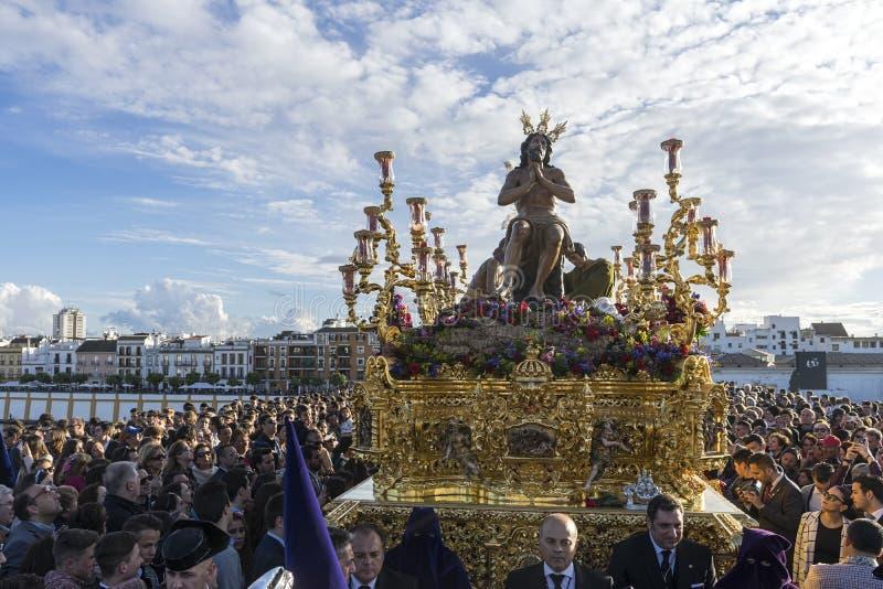 Fraternidad de la estrella, semana santa en Sevilla imagen de archivo