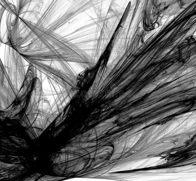 Frattale in bianco e nero astratto su fondo bianco Struttura di frattale di fantasia Rotazione rosso-cupo di Digitahi art rappres illustrazione vettoriale