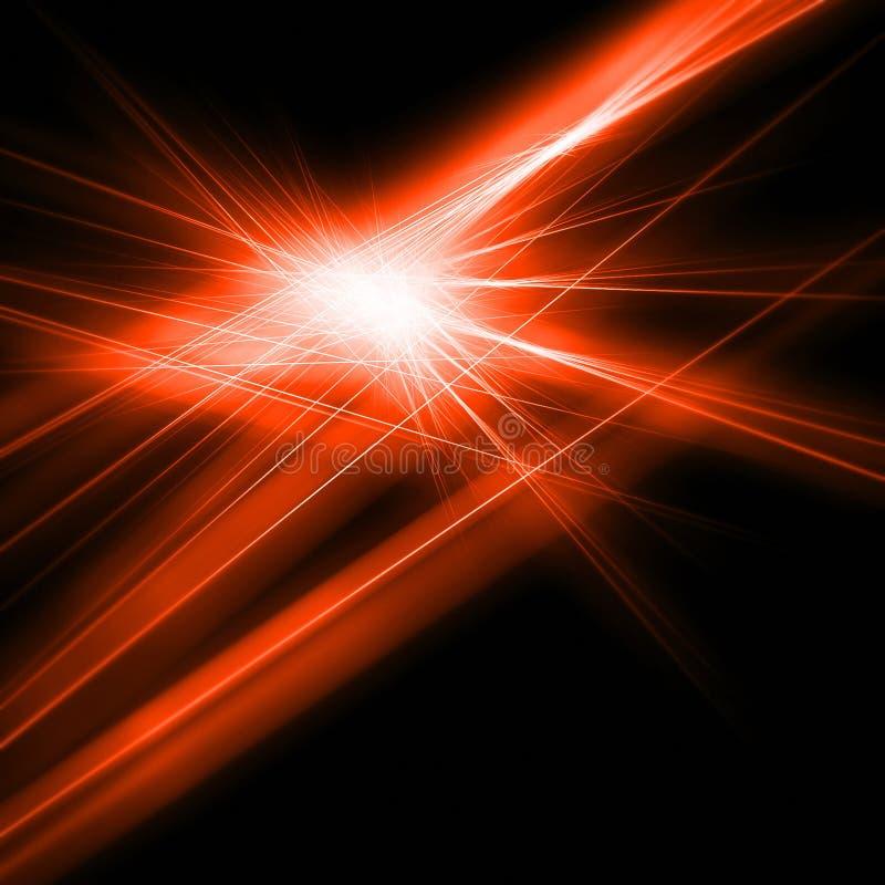 Frattale di luce rossa sul nero fotografia stock