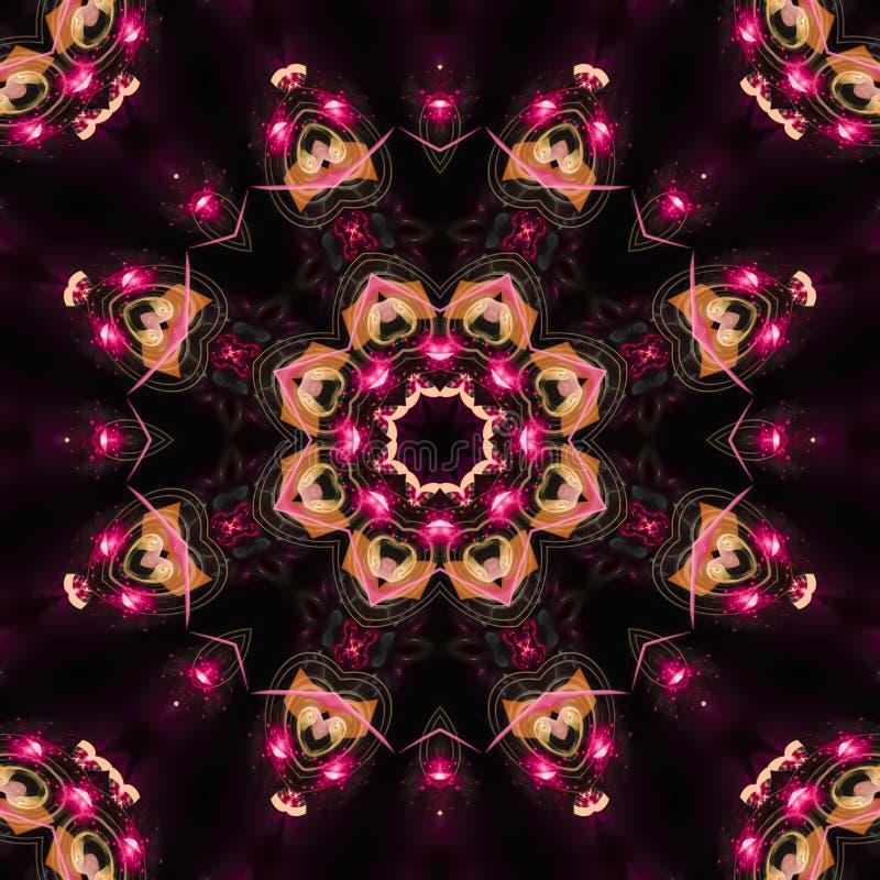 frattale multicolore, tessuto grafico unico colorato del mosaico vibrante, mandala della copertura della decorazione royalty illustrazione gratis