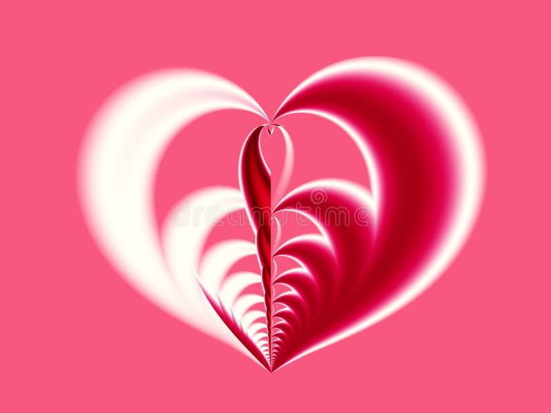 Frattale rosa, rosso e bianco del biglietto di S. Valentino che descrive un grande cuore con differenti metà royalty illustrazione gratis