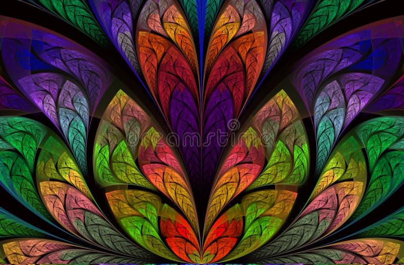 Frattale scuro, materiale illustrativo digitale per progettazione grafica creativa Bello fondo astratto artistico illustrazione vettoriale