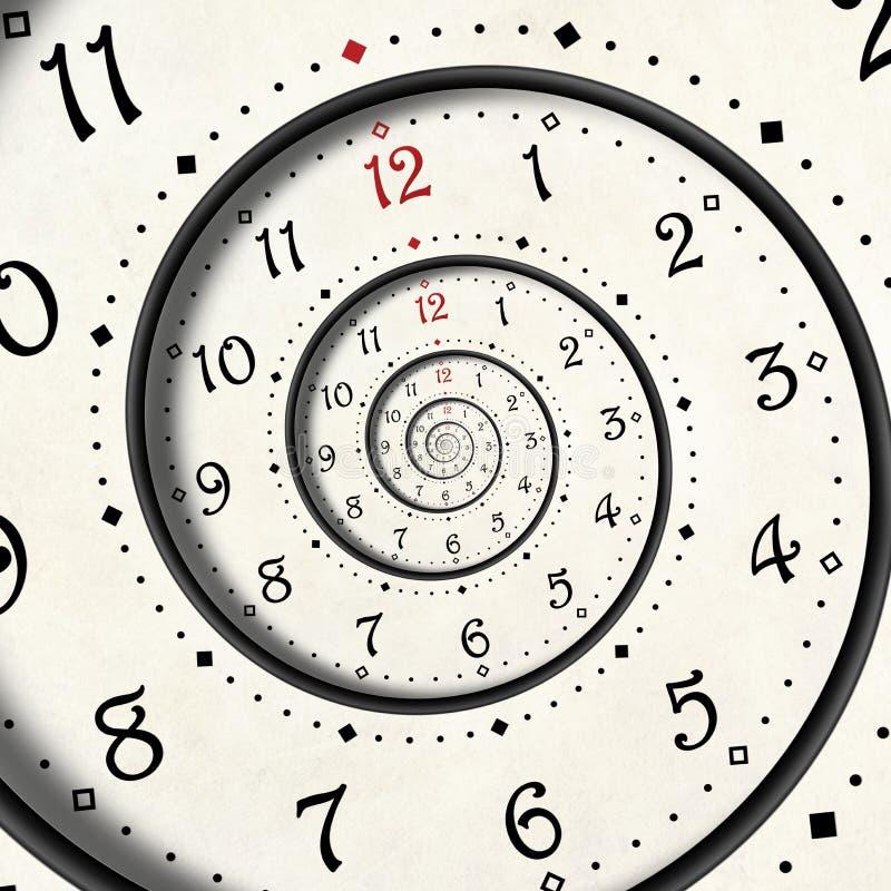 Frattale a spirale bianco moderno astratto del fondo dell'orologio Frattale astratto insolito torto di struttura dell'orologio di illustrazione di stock
