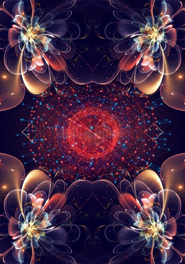 Frattali generati da computer neri unici artistici 3d di bello modello di fiori esotico su una rete circolare moderna digitale illustrazione di stock