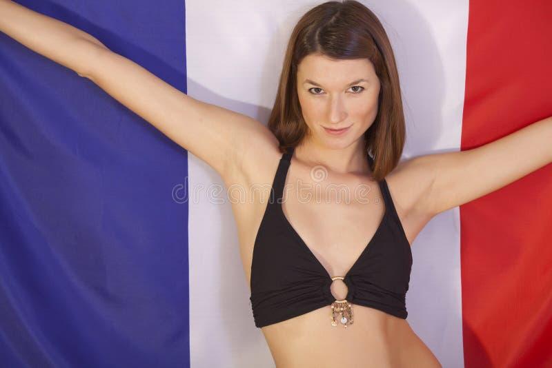 Download Frau über Frankreich-Markierungsfahne Stockbild - Bild von ausdruck, frau: 12201593