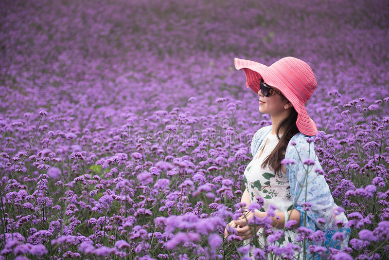 Frau auf dem Lavendelgebiet stockfotografie